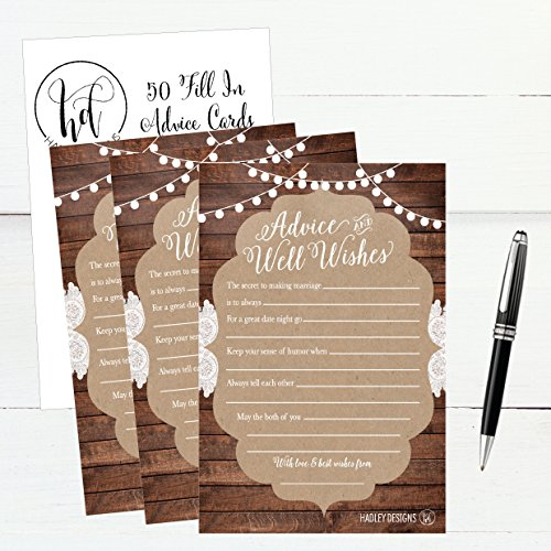 50 4x6 Rustic Wedding Advice & Well Wishes For The Bride and Groom Cards, Reception Wishing Guest Book Alternative, Bridal Shower Games Note Card Marriage Advice Bride To Be, Best Wishes For Mr & Mrs Photo #3