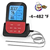 Wireless Digital Meat Thermometer,Wisenovo Smart Cooking Thermometer for Grilling,BBQ,Smoker,Oven,Kitchen,Instant Read Remote Food Thermometer with Dual Stainless Steel Probe.