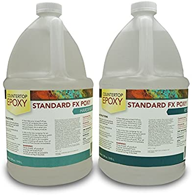 Countertop Epoxy   FX Poxy   UV Resistant Resin   2 Gallons (Ultra Clear,  40 Sq Ft)   Tools Products   Amazon.com