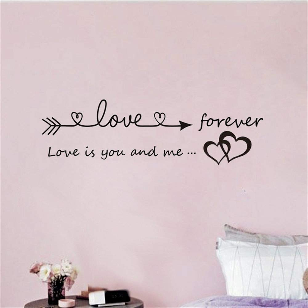 Quaanti Love is You and Me Words Love Heart Home Bedroom Decor Wall Sticker Friend Student Gifts School Office Mural (Black) by Quaanti (Image #5)