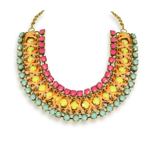 Valentine's Gift Tribal Bright Color Jewelry Fringe Chain Choker Statement Necklace (Costume Shops In Columbus Ms)