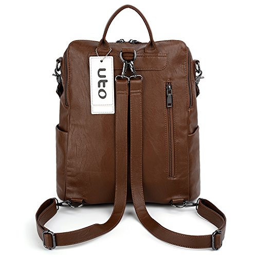 UTO Rucksack Leather Ladies Women Purse Hole Zipper Bag Convertible Pockets New Shoulder Backpack Washed PU Brown Earphone 8xS08qnrXT