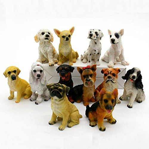 12 Pcs Dogs Animal Fairy Garden Kits Figurines for Miniatures Ornaments Fairies Gardens House Terrarium Kit Dollhouse Supplies Outdoor DIY Decorations