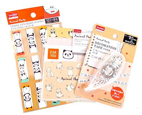 Animal Party Panda Collection 3 SetsIndex Stickers/Mini Letter Paper And Mini Envelopes/Decorative Tape