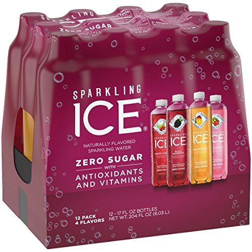 Sparkling Ice Variety Pack, 17 Fl Oz, 12 Count (Black Raspberry, Cherry Limeade, Orange Mango, Kiwi Strawberry)