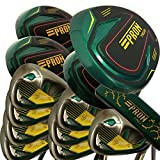 Japan Epron Titanium Driver 3 5 7 Fairways Wood 4-Sw Stain Steel Irons and CNC Face Putter Golf Club Set+Leather Cover(Regular Flex,Graphite Shaft,Pack of 18,Grip Mid)