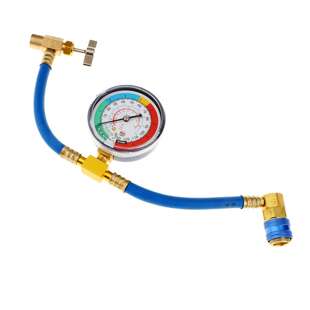 Baosity R134a AC Auto Air Conditioning Refrigeration Hose Recharge & Gauge With Fittings