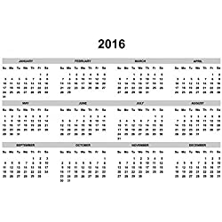 Gifts Delight Laminated 36x24 inches Poster: Calendar 2016 2016 Calendar Year Template Date Day Month Organizer Week Diary Number Office Daily Schedule Business Calendar Vector Season Simple Sunday