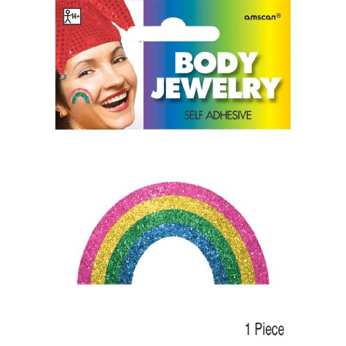 Images Costumes (Party Perfect Team Spirit Rainbow Image Glitter Body Jewelry Accessory, Paper, 2
