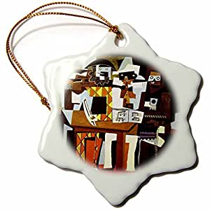 3dRose orn_52392_1 Picasso Painting Musicians N Masks-Snowflake Ornament, Porcelain, 3-Inch