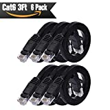 Cat 6 Ethernet Cable 3 ft 6Pack (At a Cat5e Price but Higher Bandwidth) Cat6 Internet Network Cables - Flat Ethernet Patch Cable Short - 3 ft Computer Cable Black
