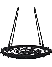 Kids Nest Swing Seat Web Spider With Hanging Ropes 200kg Load (∅120cm, Black)