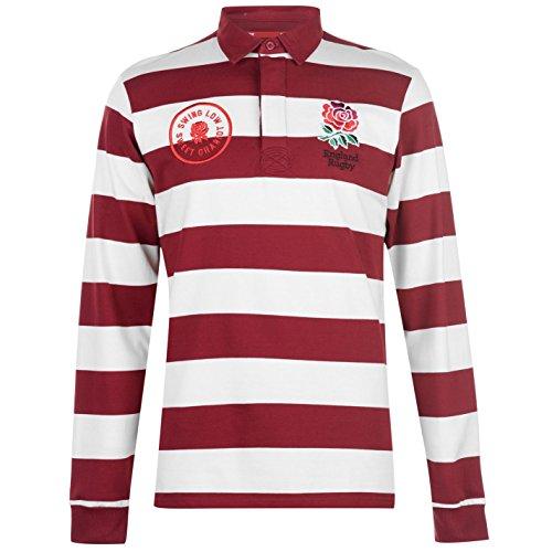 Cotton Long Sleeve Rugby Shirt - RFU Mens England Striped Long Sleeve Rugby Jersey Shirt Cotton Button Placket Cream/Burgandy Large