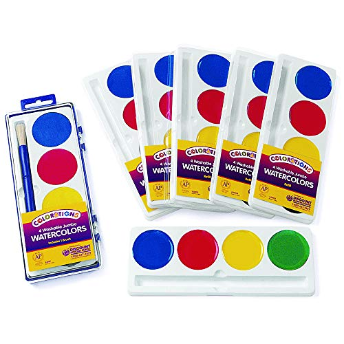 - Colorations 4 Best Value Jumbo Washable Watercolors - Set of 6 Refills (Item # RFIL4ST)