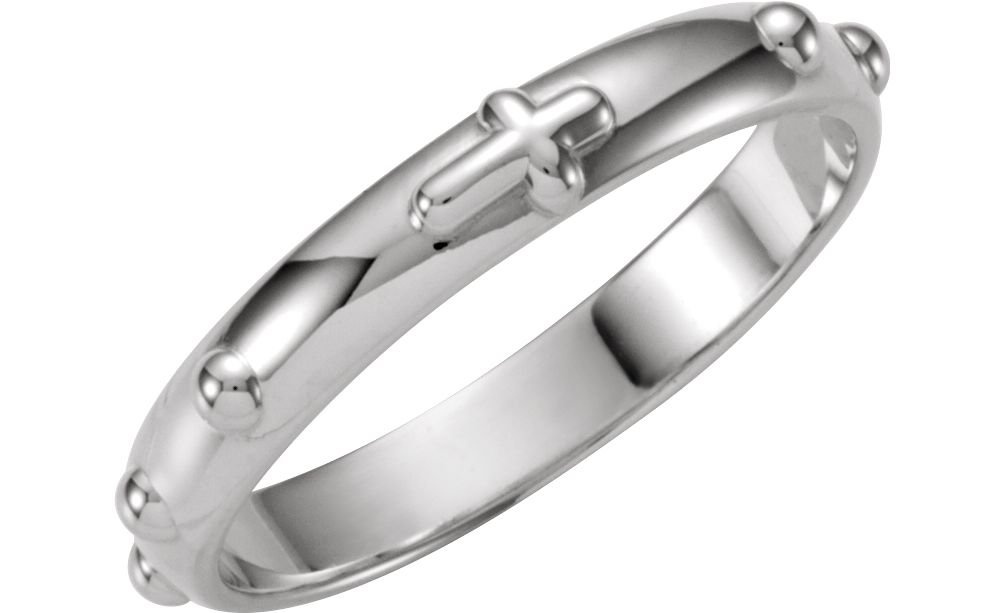 Rosary Ring, 14k White Gold 4.75mm, Size 4
