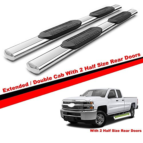 Mifeier 5 Inch Running boards Nerf Bars For 07-18 Chevy Silverado/GMC Sierra 1500 Extended cab With 2 Half Size Rear Door