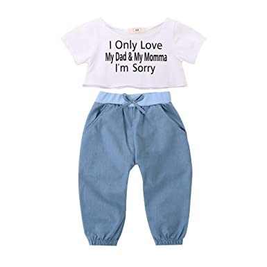 306740662367 Amazon.com  for 0-3 T Little Kids Baby Girls  Clothes Set Letter Print Crop  Tops and Bow-Knot Trousers 2pcs Outfits  Clothing