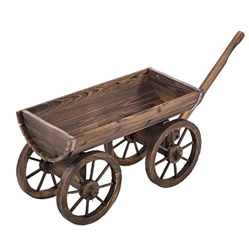 BestMassage Wooden Wagon Cart Garden Flower Planter Patio Wheels Pot Stand Holder Home Outdoor Backyard ()
