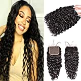 MSGEM Brazilian Water Wave Human Hair 3 Bundles With a Closure Wet and Wavy Virgin Hair Brazilian Water Wave Hair With Closure Natural Black (18 with 20 22 24 inch)