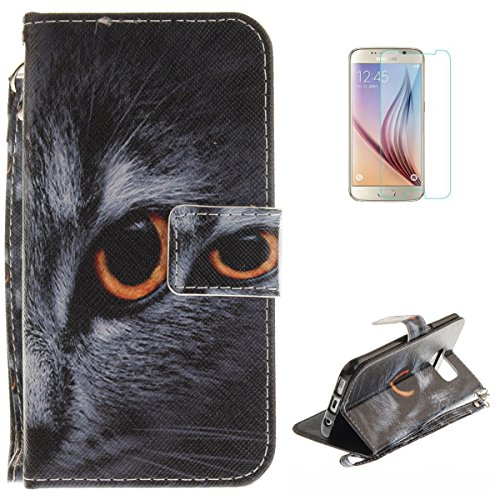 Samsung Galaxy S7 Edge Flip Magnetic Leather Case [Free Screen Protector] KaseHom Half Face Cat Animals Painted Design Folio Wallet Case with [Card Slot] [Hand Strap] Slim Protective Cover -