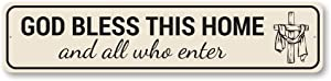 God Bless This Home Sign, Religious Sign, Christian Inspirational Sign - 4 x 18 inches