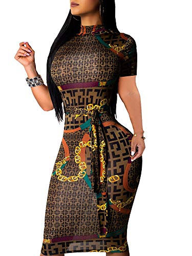 Junior Party Dress - Women's Floral Sexy Midi Juniors Dresses Casual Bodycon Short Sleeve Club Outfits