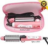 Folding Portable Travel Hair Curling Irons & Staightener & Wave & Brush 3 in 1 hair styling for DIY Salon Tools