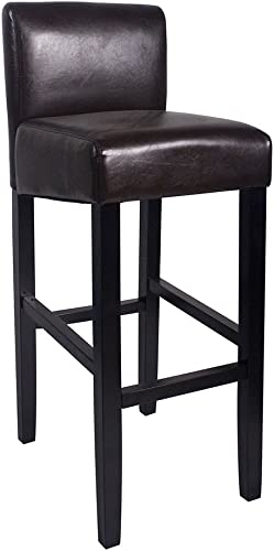 Modern Home Brooklyn Contemporary Wood Faux Leather Barstool – Brown