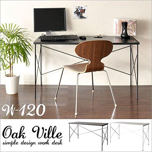 ワークデスク(パソコンデスク) Oak ville 【オーク ビル】 幅120cm ブラック AR-GT102 B00UCRSY0Y  ブラック