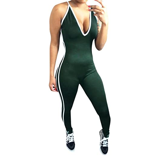 51dcd63caab1 Minisoya Women Low Cut Backless Romper Playsuit Striped Fitness Sports  Pencil Leggings Pants Casual Party Jumpsuit