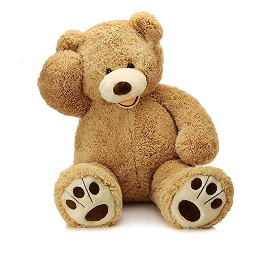 MorisMos Giant Teddy Bear with Big Footprints Plush Stuffed Animals Light Brown 39 -
