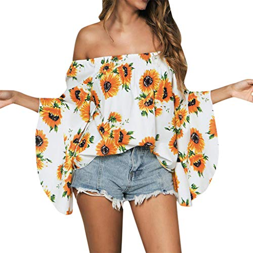 Blouses For Womens, FORUU Sunflower Printed Bat Sleeve Off Shoulder Sexy Tops Casual Loose T Shirts Tees 2019 Ladies Fashion New Arrival On Sale Under 5 Dollars Best Gift For -
