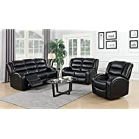 GTU Furniture Motion Sofa Loveseat Recliner Living Room Bonded Leather Set (Sofa, Loveseat and Chair, Black)