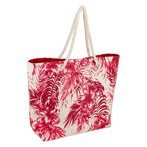 DII Palm Print Beach Bag 15x20x5.5, Cotton Rope Handles Shoulder Travel Tote Coral, Palm Coral (Floral Beach Bag)