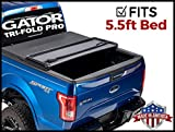 Gator 'Pro Tri-Fold (fits) 2015-2019 Ford F150 5.5 FT Bed Only Soft Folding Tonneau Truck Bed Cover (GSF0339) Made in The USA