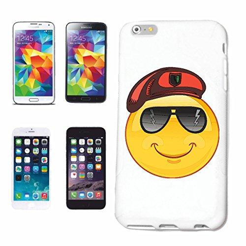 """cas de téléphone iPhone 6S """"SMILEY AS SERGENT AVEC LUNETTES """"SMILEYS SMILIES ANDROID IPHONE EMOTICONS IOS grin VISAGE EMOTICON APP"""" Hard Case Cover Téléphone Covers Smart Cover pour Apple iPhone en bl"""