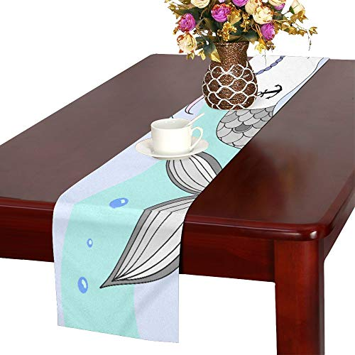 YUMOING A Cute Unicorn with A Mermaid Tail and A Rainbow M Table Runner, Kitchen Dining Table Runner 16 X 72 Inch for Dinner Parties, Events, -