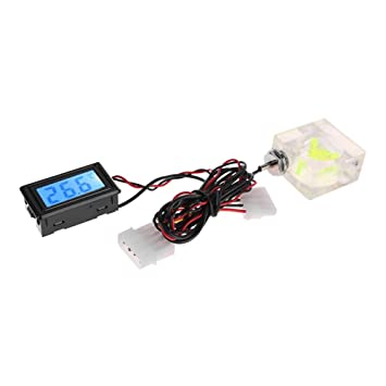 Everpert Termómetro digital LED de 3 vías para sistema de refrigeración de agua