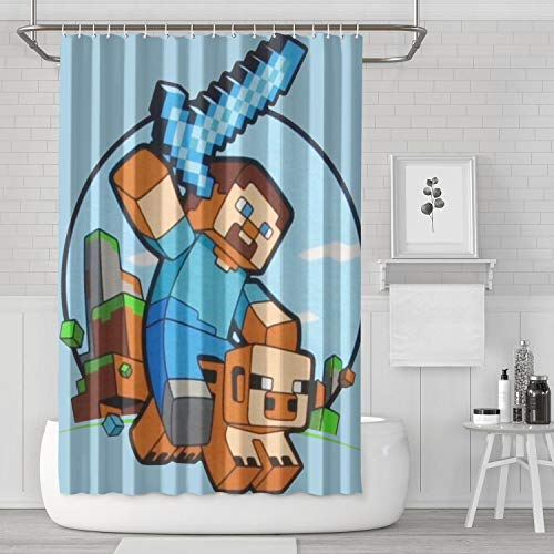 LIHONG2A Kids Mine-Craft Pig Riding Shower Curtain Set with Hooks Print 72 X 72 Inches Bathroom Curtain