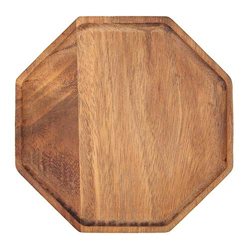 Octagonal Dish - vanpower Acacia Wood Plate Dishes Octagonal Kitchen Food Tea Dinner Tray (15 X 2cm)