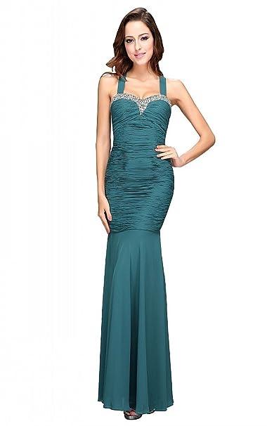 festamo elegante Ropa gasa vestido de fiesta largos Fashion para vestido de noche verde 36