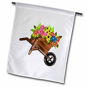 Florene Décor II - Wheelbarrow With Color Flowers - 12 x 18 inch Garden Flag (fl_41586_1)