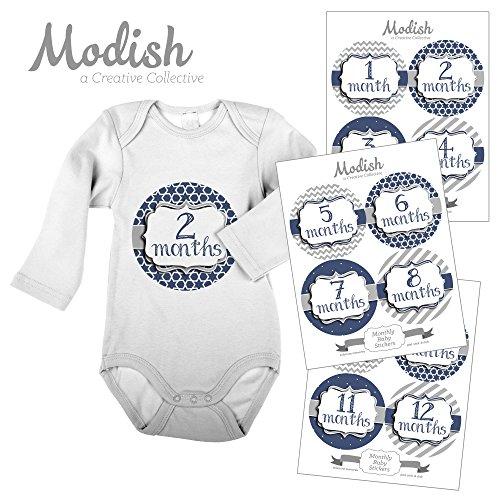 12 Monthly Baby Stickers, Gray & Navy Blue, Boy, Baby Belly Stickers, Monthly Onesie Stickers, First Year Stickers Months 1-12, Gray, Navy Blue, Chevron, Stripes, Baby Boy