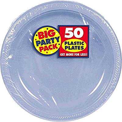 Amscan AMI 630732.108 Big Party Pack Plastic Lunch Plates, 50 pieces, Pastel Blue: Kitchen & Dining