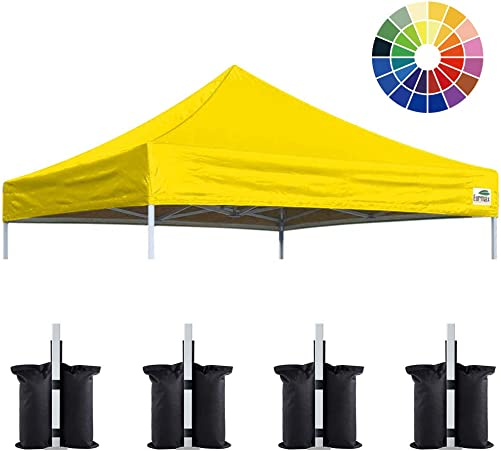 Eurmax New 10×10 Pop Up Canopy Replacement Canopy Tent Top Cover, Instant Ez Canopy Top Cover ONLY, Choose 30 Colors Yellow