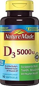 Nature Made Vitamin D-3 Softgels, 5000IU, 90 Count
