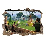 Fangeplus R DIY Removable 3D Fortnite Games G Broken Wall Hole Art Mural Vinyl Waterproof Wall Stickers Kids Room Decor Nursery Decal Sticker Wallpaper 17.3''x22.8''