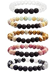 YISSION 5 Sets Lava Beads Diffuser Bracelet Lava Rock Stone Essential Oil diffusing- Natural Semi Precious Gemstone Beads Healing Crystal Bracelet