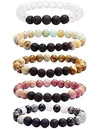 Lava Rock Stone Bracelet, 5 Sets Aromatherapy Essential Oil Diffuser - Natural Semi Precious Gemstone Beads Anxiety Healing Crystal Bracelet