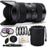 Sigma 210101 18-35mm F1.8 DC HSM Lens for Canon APS-C DSLRs (Black) + 12 Piece Deluxe Accessory Package Kit